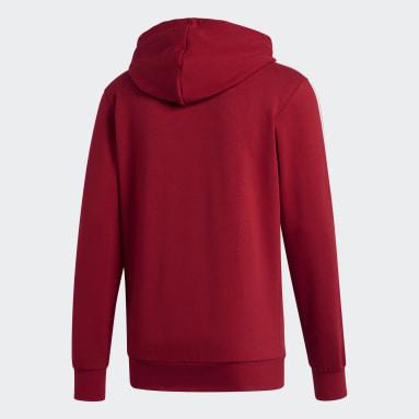 Men's Essentials Burgundy Essentials 3-Stripes Fleece Hoodie
