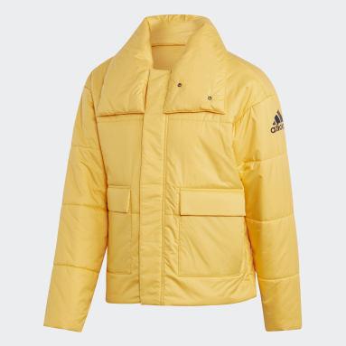 Men City Outdoor Yellow Big Baffle Bomber Jacket