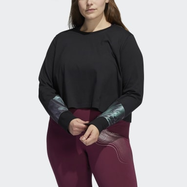 Women's Essentials Black Holiday Graphic Cropped Long Sleeve Tee (Plus Size)