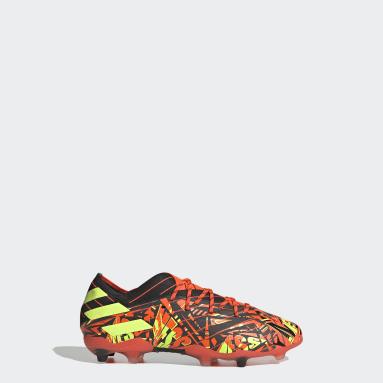 Bota de fútbol Nemeziz Messi.1 césped natural seco Naranja Niño Fútbol