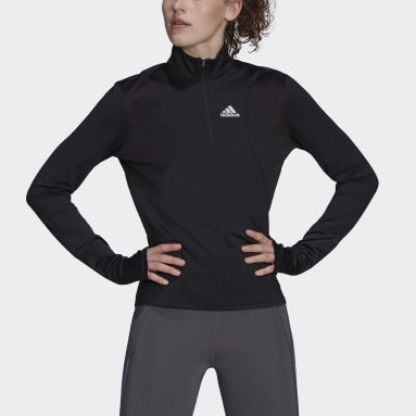 Women Running Black adidas Own The Run 1/2 Zip Tee