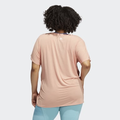 Camiseta entrenamiento 3 bandas (Tallas grandes) Rosa Mujer Running