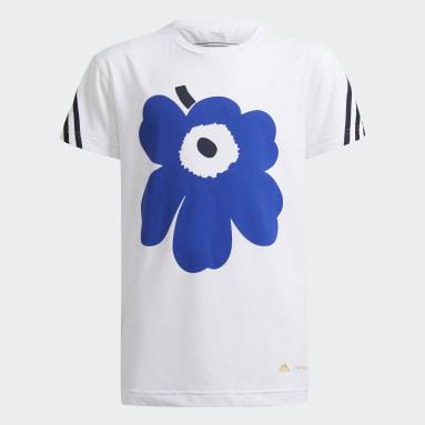 Camiseta Marimekko Primegreen AEROREADY Training Loose Floral Graphic 3 bandas Blanco Niña Gimnasio Y Entrenamiento
