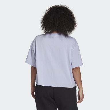 Women's Essentials Purple adidas x Zoe Saldana Crop Logo Tee (Plus Size)