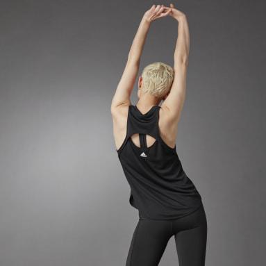 Camiseta sin mangas 3 Bar Logo Negro Mujer Running