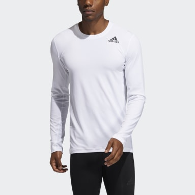 Men Running White Techfit Compression Long-Sleeve Top