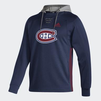 Men Hockey Blue Canadiens Skate Lace Hoodie