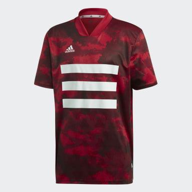 Men Football Burgundy TAN Graphic Jersey
