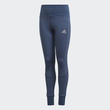 Leggings de Ioga com Cintura Subida AEROREADY Azul Raparigas Estúdio