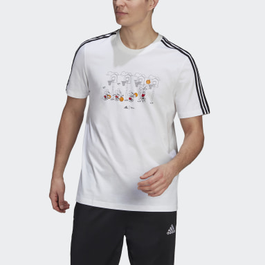 Men Sport Inspired White adidas x Disney Mickey in Motion 3-Stripes Basketball Graphic Tee