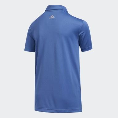 Youth Golf Blue 3-Stripes Polo Shirt
