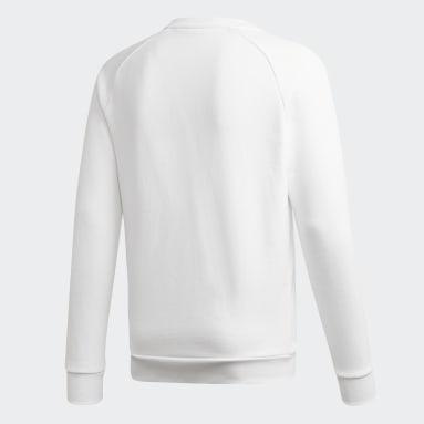 Men Originals White LOUNGEWEAR Trefoil Essentials Crewneck Sweatshirt