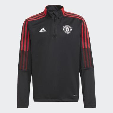 Kinder Fußball Manchester United Tiro Trainingsoberteil Schwarz