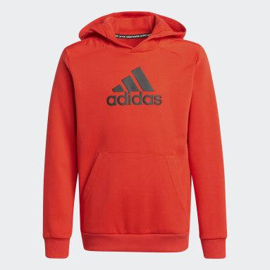 Boys Fitness Og Træning Rød Logo hættetrøje