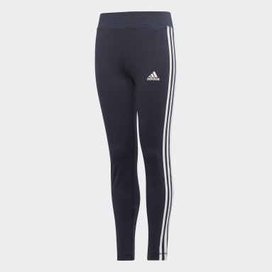 Girls Yoga Blue Training Equipment 3-Stripes Leggings