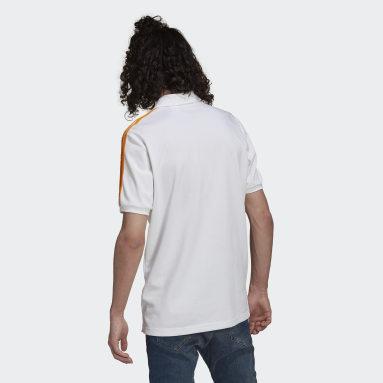 Männer Fußball Real Madrid 3-Streifen Poloshirt Weiß