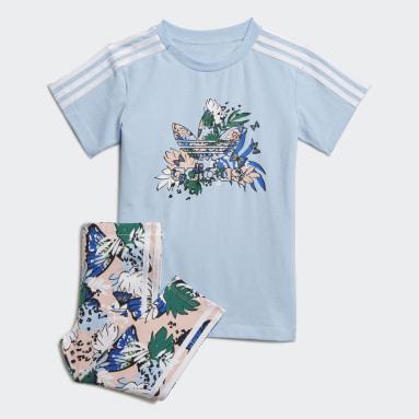 Mädchen Originals HER Studio London Animal Flower Print T-Shirt-Kleid und Leggings Set Blau