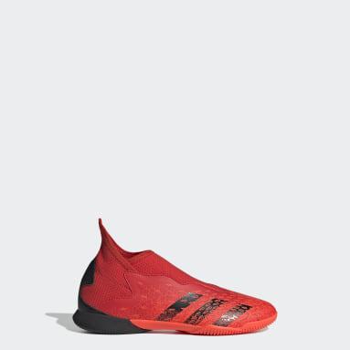 Children Soccer Red Predator Freak.3 Laceless Indoor Shoes