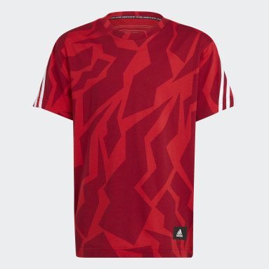 Jungen Sportswear Future Icons 3-Streifen T-Shirt Rot