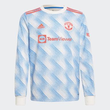 Maillor Extérieur Manchester United 21/22 Long Sleeve Blanc Enfants Football