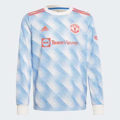 Kids Football White Manchester United 21/22 Long Sleeve Away Jersey