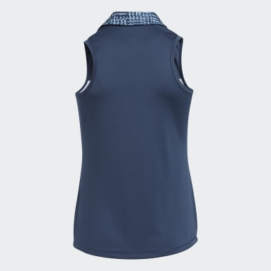 Girls Golf Blue Primegreen AEROREADY Sleeveless Polo Shirt