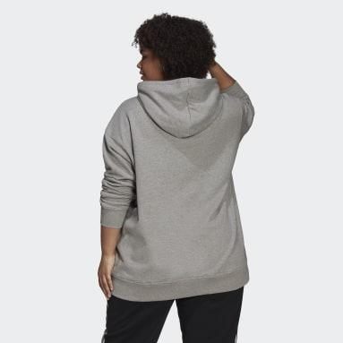 Kvinder Originals Grå Trefoil Plus Size hættetrøje