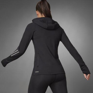 Women's Running Black Thermal Quarter-Zip Hoodie