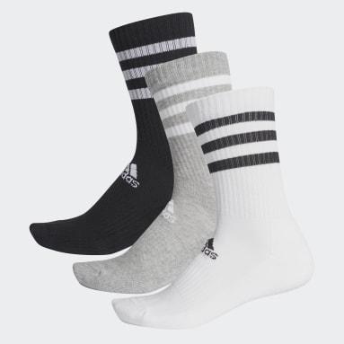 Training Grey 3-Stripes Cushioned Crew Socks 3 Pairs