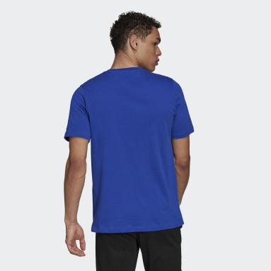 T-shirt Essentials Embroidered Linear Logo Bleu Hommes Sportswear