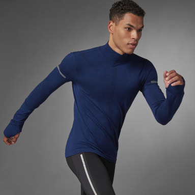 Muži Běh modrá Tričko adidas Primeknit Running Mid-Layer