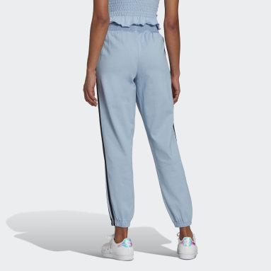 Pants Cintura Fruncida Puños Ajustados Azul Mujer Originals