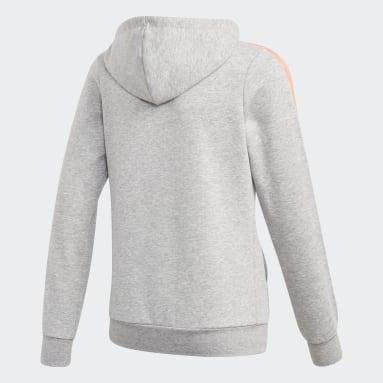 Girls Lifestyle Grey Essentials 3-Stripes Hoodie