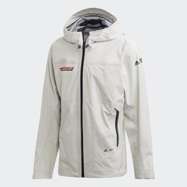 Men TERREX White Terrex DSV Parley Three-Layer Rain Jacket