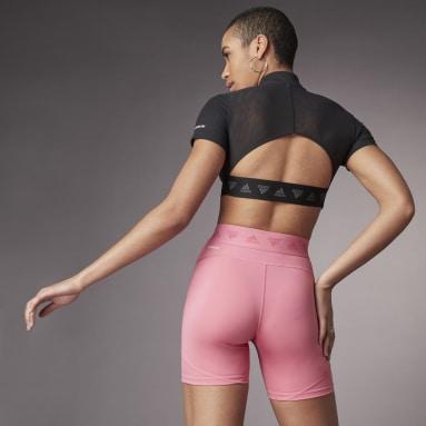 Frauen Running Hyperglam Crop Zip T-Shirt Schwarz