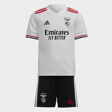 Kids 4-8 Years Football White Benfica 21/22 Away Mini Kit