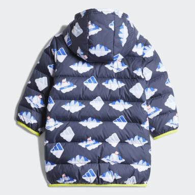 Kids Gym & Training Blue Allover-Print Long-Length Down Jacket