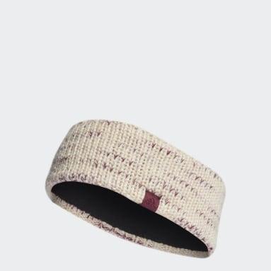Women Gym & Training White Fleece-Lined AEROREADY Knit Headband