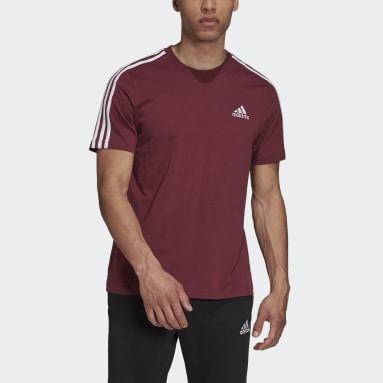 Camiseta 3 Rayas Essentials Granate Hombre Diseño Deportivo