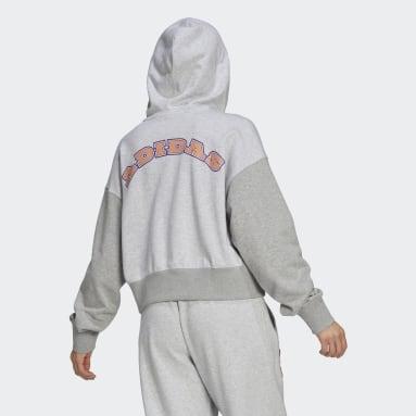 Women's Originals Grey Logo Play Cropped Hoodie