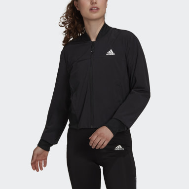 Women Running Black AEROREADY  Designed to Move Print Cropped Track Top