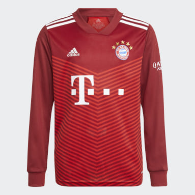 Camiseta manga larga primera equipación FC Bayern 21/22 Rojo Niño Fútbol