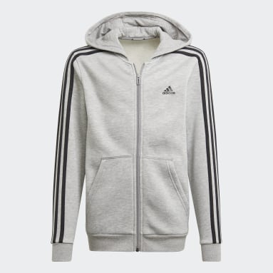 Boys Sportswear Grå Essentials 3-Stripes hættetrøje