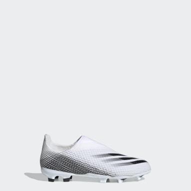 Calzado de Fútbol Sin Cordones X Ghosted.3 Terreno Firme Blanco Niño Fútbol