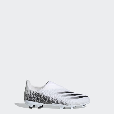 Barn Fotboll Vit X Ghosted.3 Laceless Firm Ground Boots