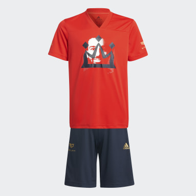 Youth 8-16 Years Gym & Training Red Salah Football-Inspired Summer Set