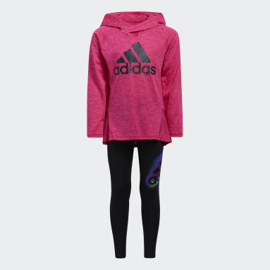 Children Training Burgundy Mélange Top and Graphic Tights Set