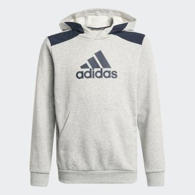 Sweat-shirt à capuche Logo Gris Garçons Fitness Et Training
