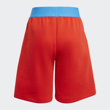 เด็ก เทรนนิง สีแดง กางเกงขาสั้นมีกระเป๋าซิป adidas x Classic LEGO®