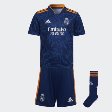 Kinder Fußball Real Madrid 21/22 Mini-Auswärtsausrüstung Blau